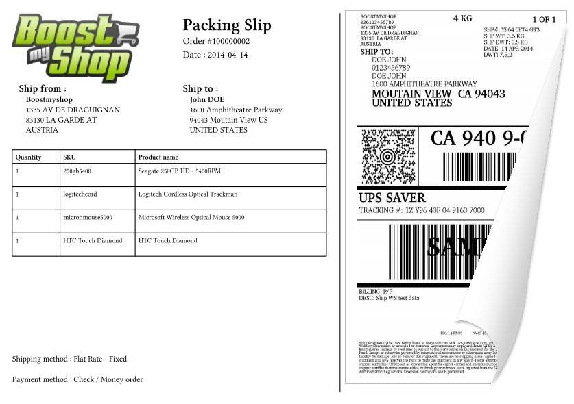 ups packingslip shipping magento
