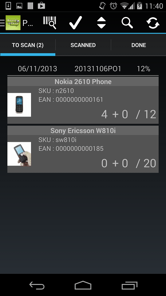ERP for Androïd app screen 6