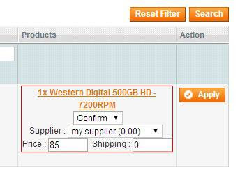 Magento Dropshipping Extension screen