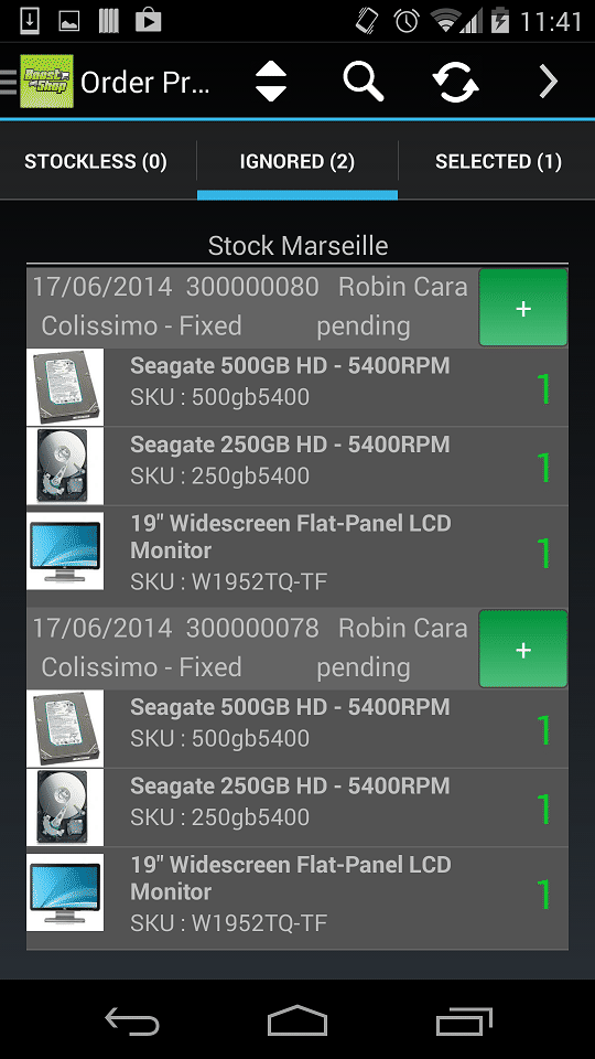 ERP for Androïd app screen 2