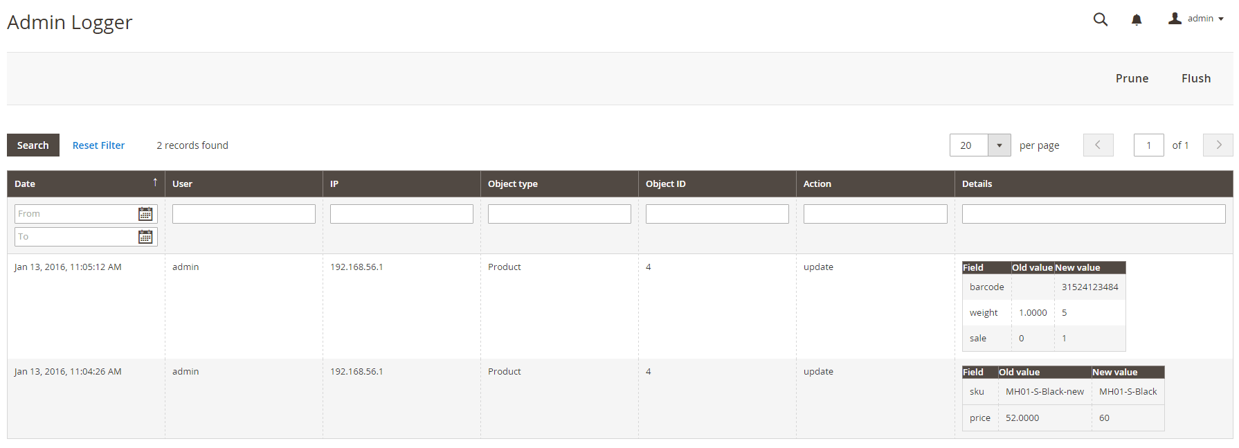 admin logger product magento 2