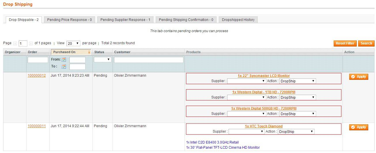 Magento Dropshipping Extension fonction