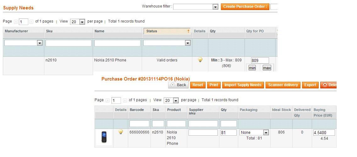 back order magento erp supply needs