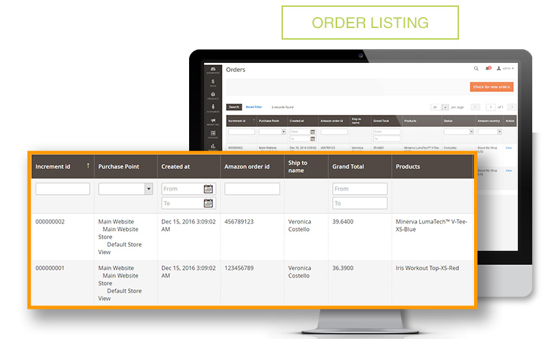 Order listing on Amazon Extension Magento 2