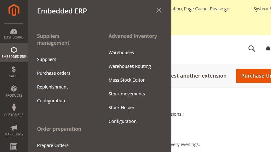 ERP magento 2 menu